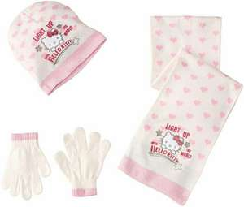 Ensemble Bonnet, écharpe et gants Hello Kitty NH4028 - 6 Ans ou 9 Ans à