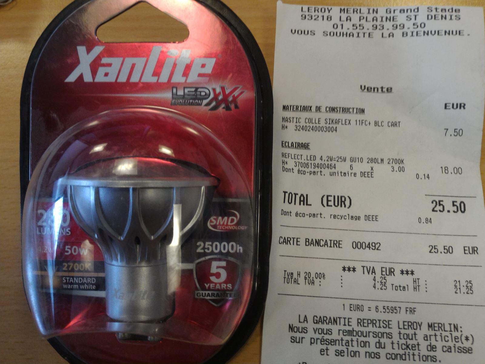 Ampoule GU10 LED Xanlite 4,2W (équivalent 50W) - garantie 5 ans