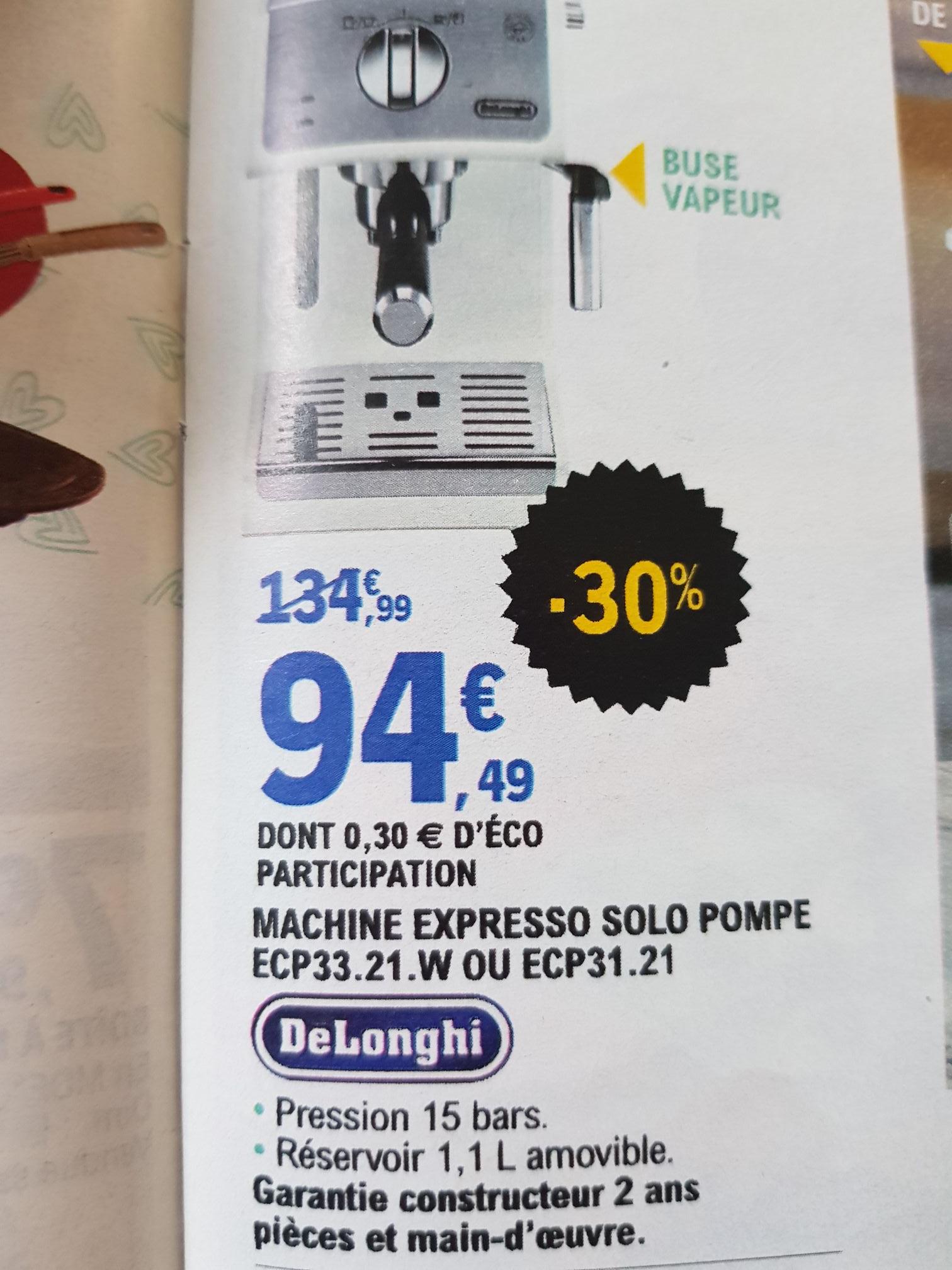 Machine à café Espresso manuelle Delonghi Expresso Solo Pompe ecp33.21 ou ecp31.21 Leclerc