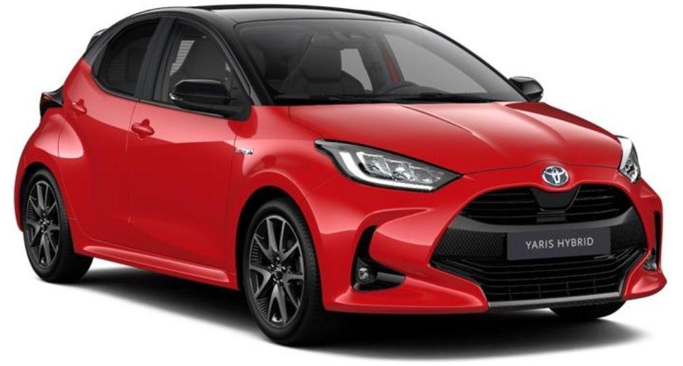 Voiture citadine Toyota Yaris (2020) - Finition Première,5 Portes, Hybrid 1.5L (116ch) - Rouge Fusion / Toit noir (Toyota.fr)