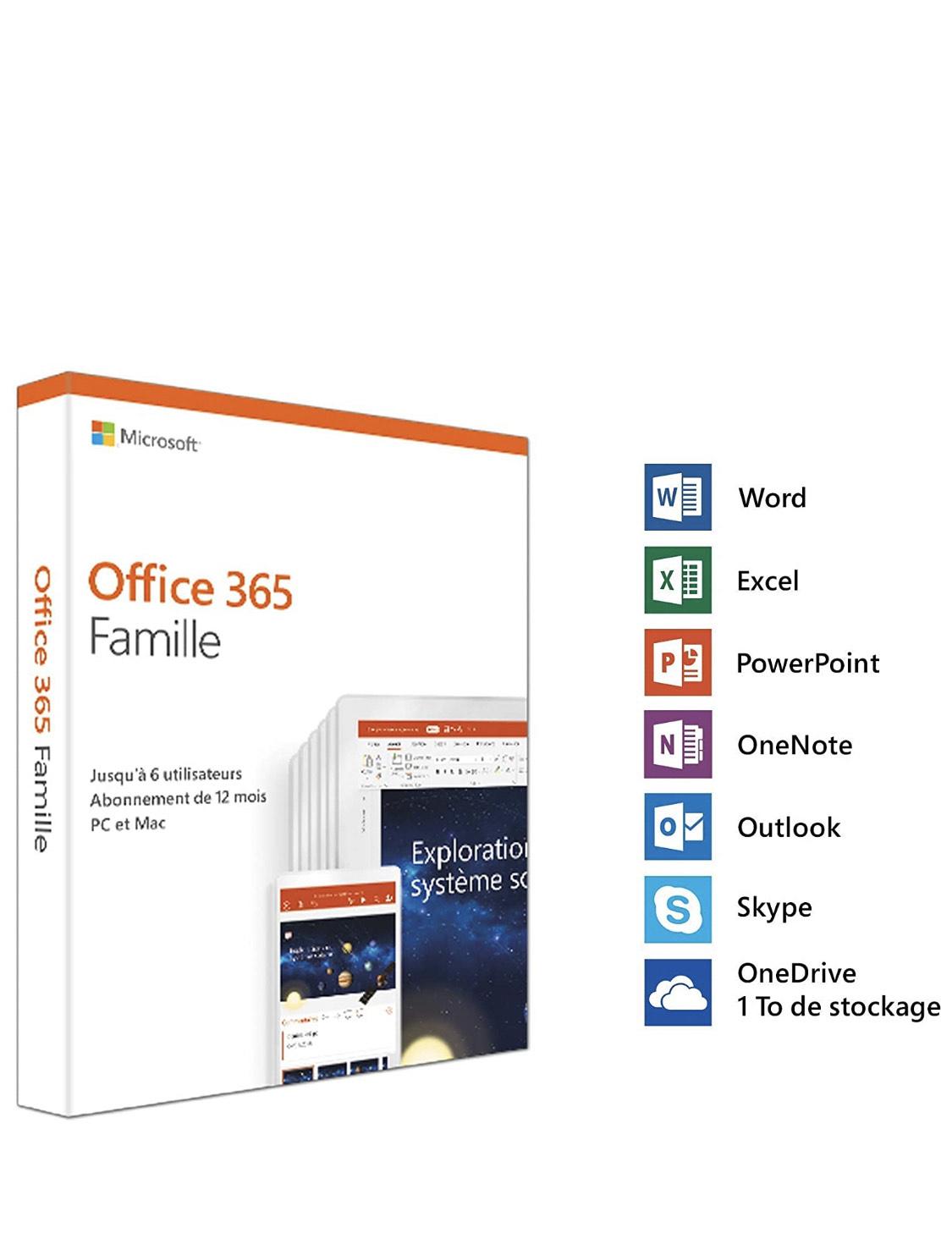 Licence Microsoft Office 365 Famille - 6 Utilisateurs, 1 An (Boite avec téléchargement dématérialisé)