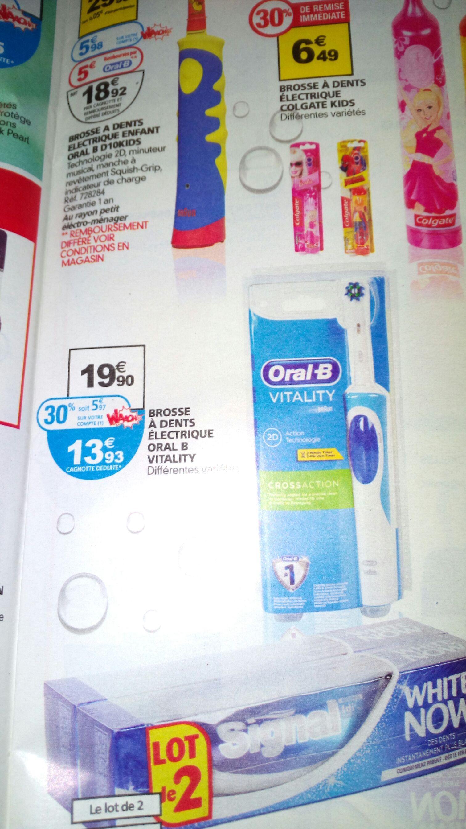 Brosse à dents électrique Oral-B vitality (avec 5,97€ sur la carte)