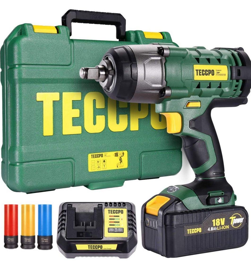 Clé à choc Sans-Fil, Teccpo - 350Nm + Batterie 4.0Ah + Boîte de Rangement + Accessoires (Via Coupon Vendeur Tiers expédition Amazon )