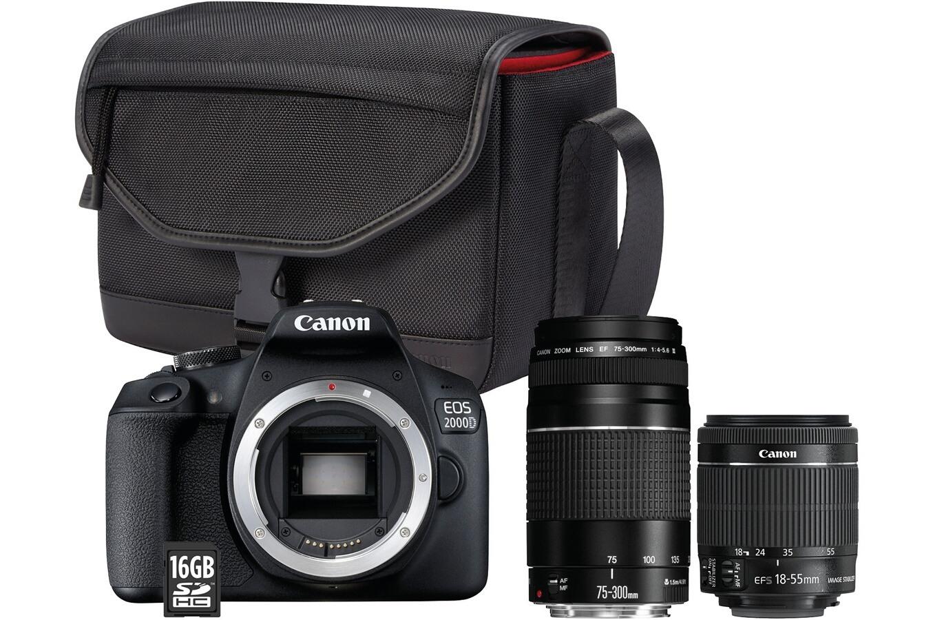 Appareil photo Reflex Canon EOS 2000D + 2 Objectifs (18-55 mm + 75-300 mm f/4-5.6) + Sac + Carte SD 16 Go