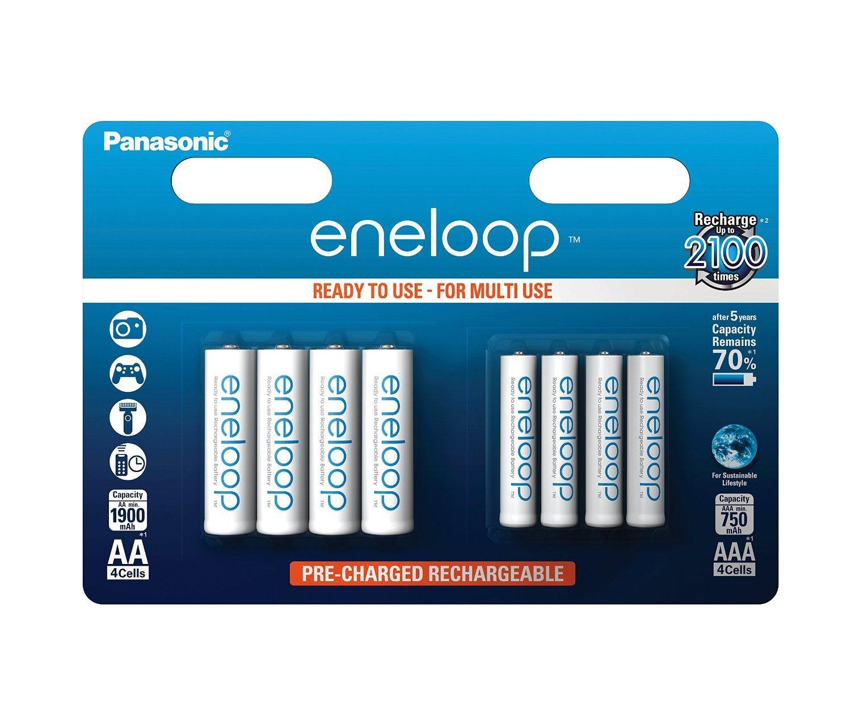 Pack 8 piles rechargeables Panasonic Eneloop BK-KJMCCE44E - 4 x AAA 750mAh + 4 x AA 1900 mAh