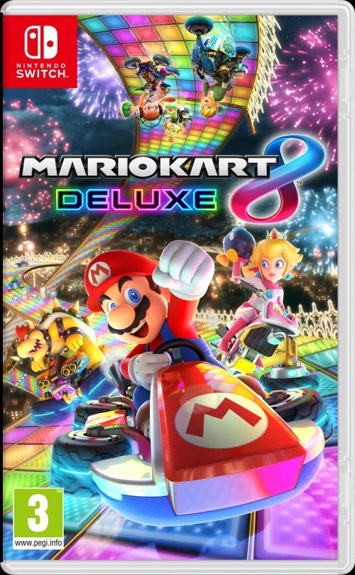 Jeu Mario kart 8 Deluxe sur Nintendo Switch + Pack de 2 Volants pour Joy-con