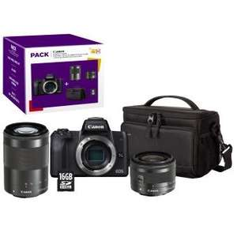 Appareil photo Hybride Canon EOS M50 + Objectif EF-M 15-45 mm f/3.5-6.3 IS STM + EF-M 55-200 mm f/4.5-6.3 IS STM + Etui + Carte SD 16 Go