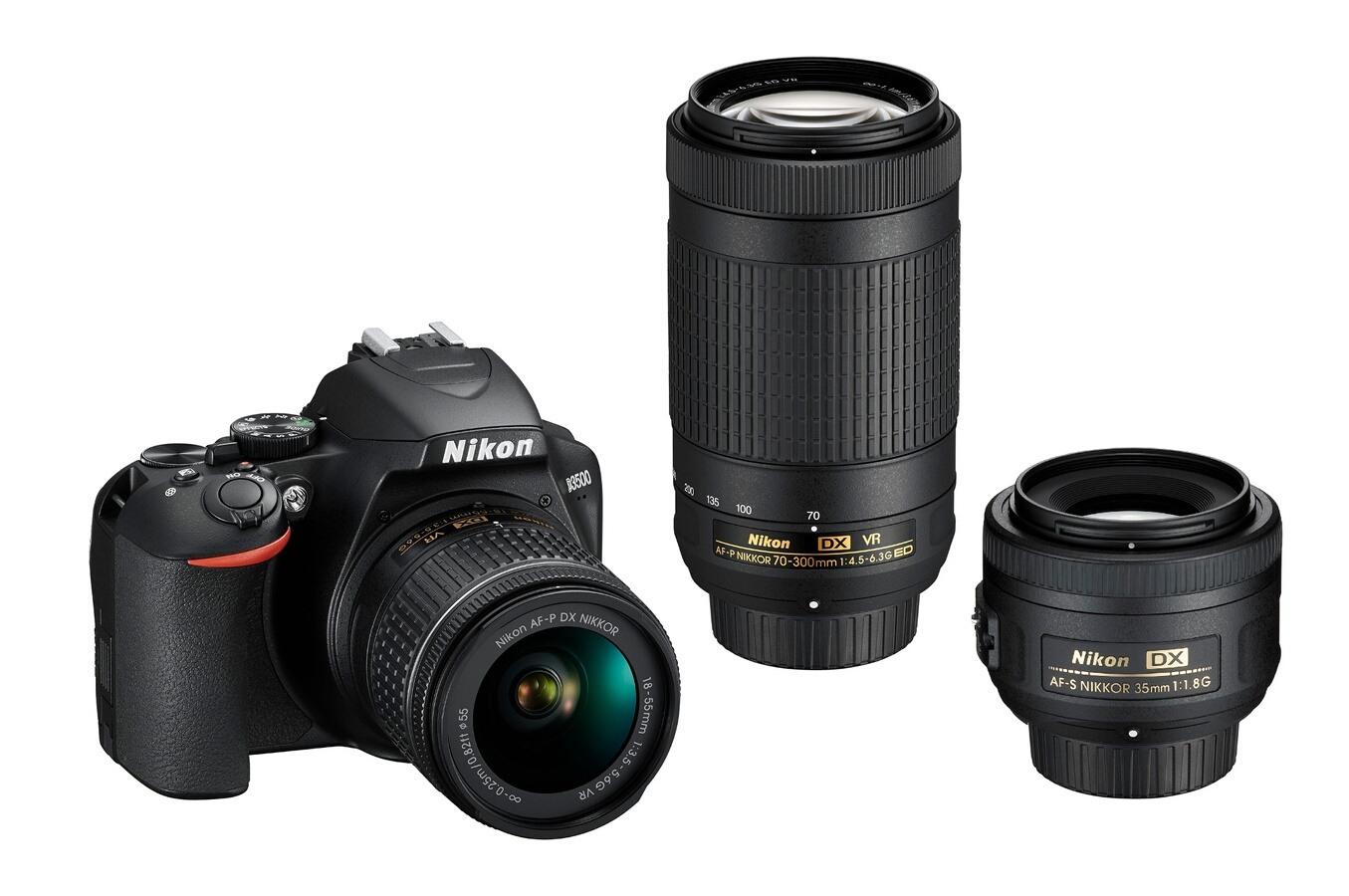 Appareil Photo Reflex Nikon D3500 + Objectifs 18-55mm & 70-300mm VR + Focal Fixe 35mm /f1.8 - Capteur Aps-C 24.2 MP (Via Retrait en Magasin)