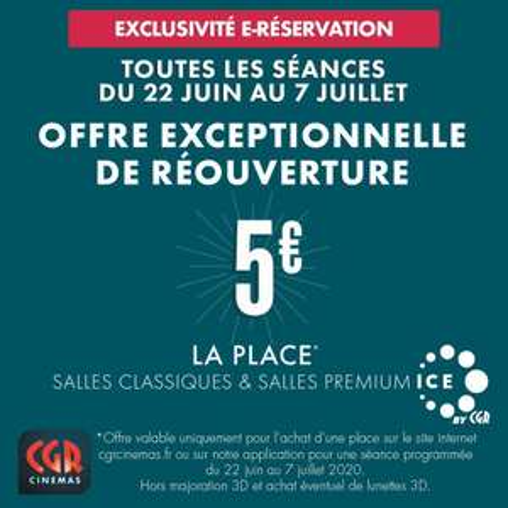Place de Cinéma e-réservation à 5€ dans une sélection de Cinéma - Ex : Place CGR en salle classique ou Premium Ice