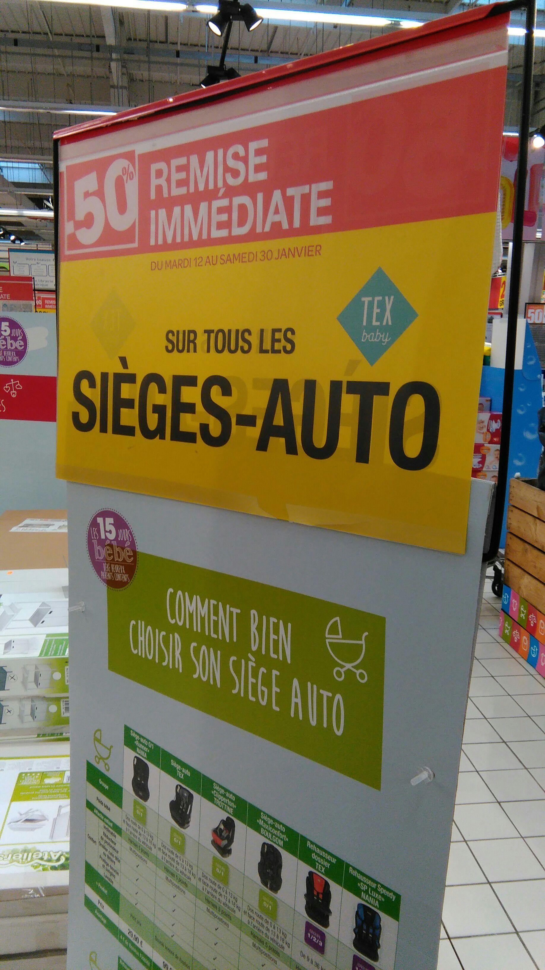 50% de réduction sur les Sièges autos Tex - Ex : Siège Auto rehausseur Dossier Tex
