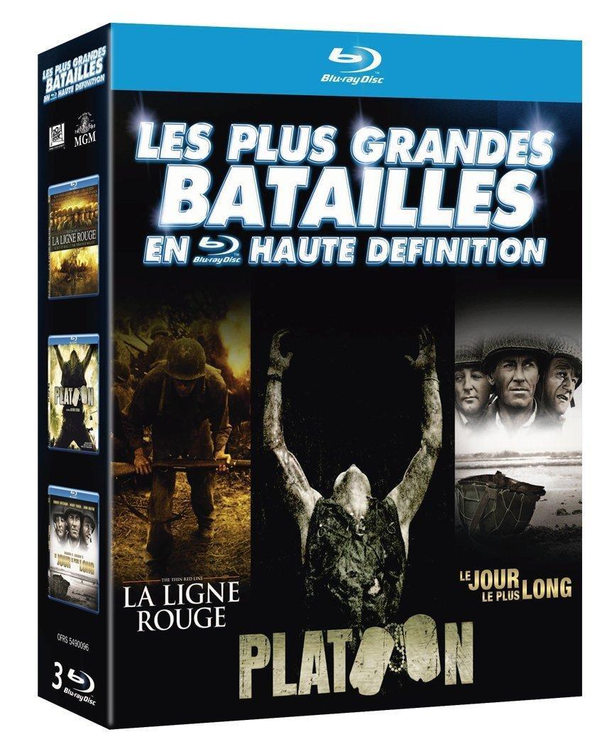 Coffret Blu-ray : Les Plus grandes batailles en haute définition : La Ligne Rouge + Platoon + Le jour le plus long