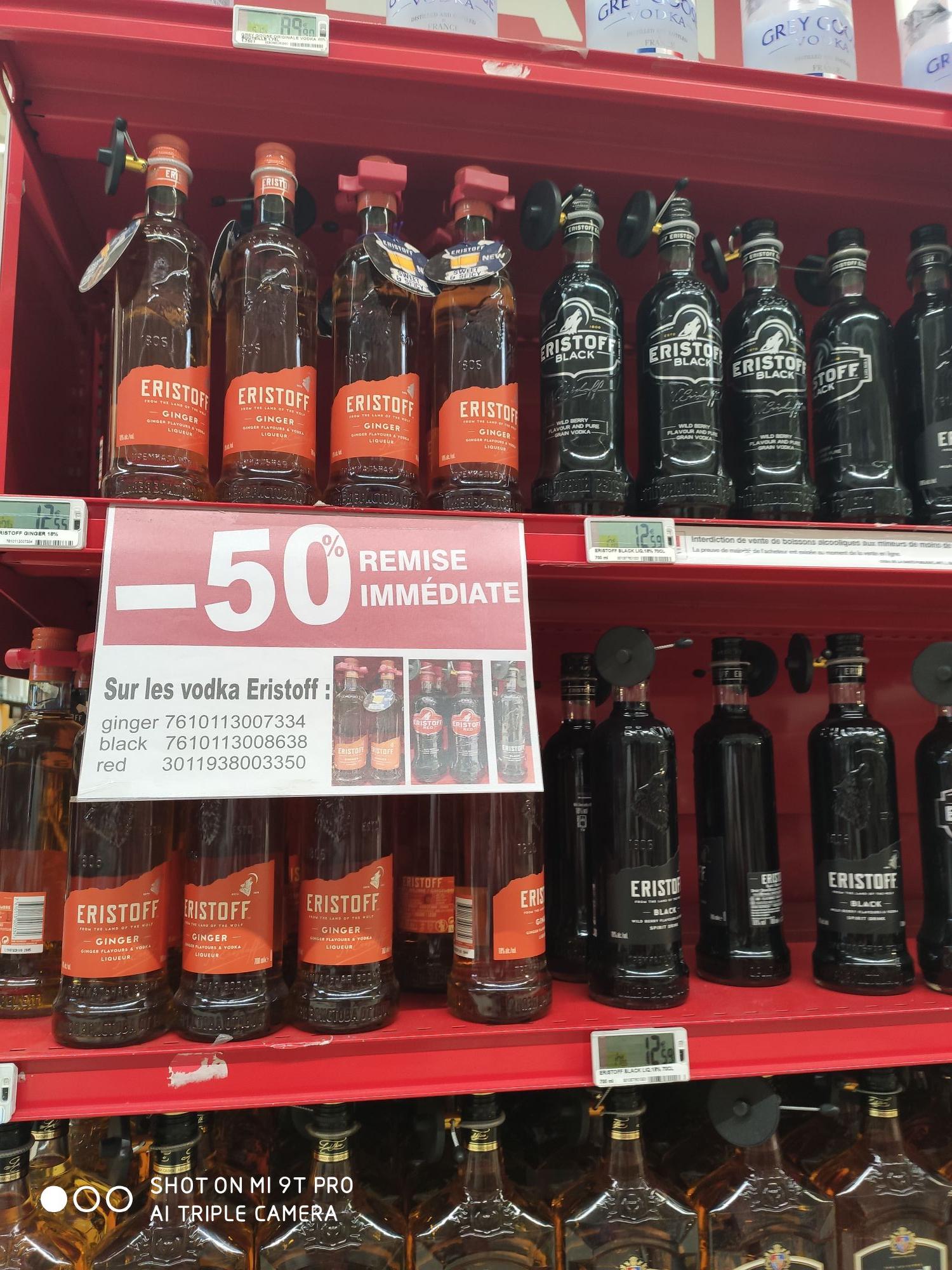 50% de réduction immédiate sur les Bouteilles de Vodka Eristoff - Ex : Eristoff Ginger (70 cl) - Montereau (77)