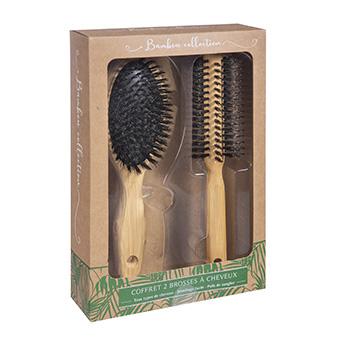 Coffret de 2 brosses à cheveux en bambou