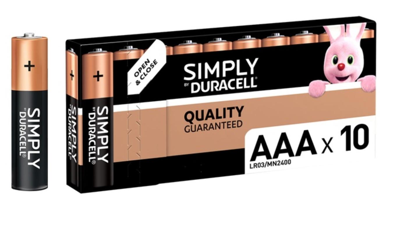 Lot de 10 piles AAA Duracell Simply