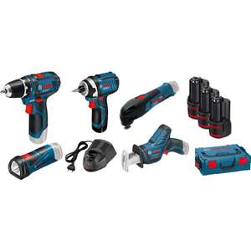Kit 5 outils Bosch Pro 12V : Perceuse, Visseuse à chocs, Outil multifonction, Scie sabre, Lampe, chargeur, 3 x 2Ah, L-Boxx (toolstation.nl)
