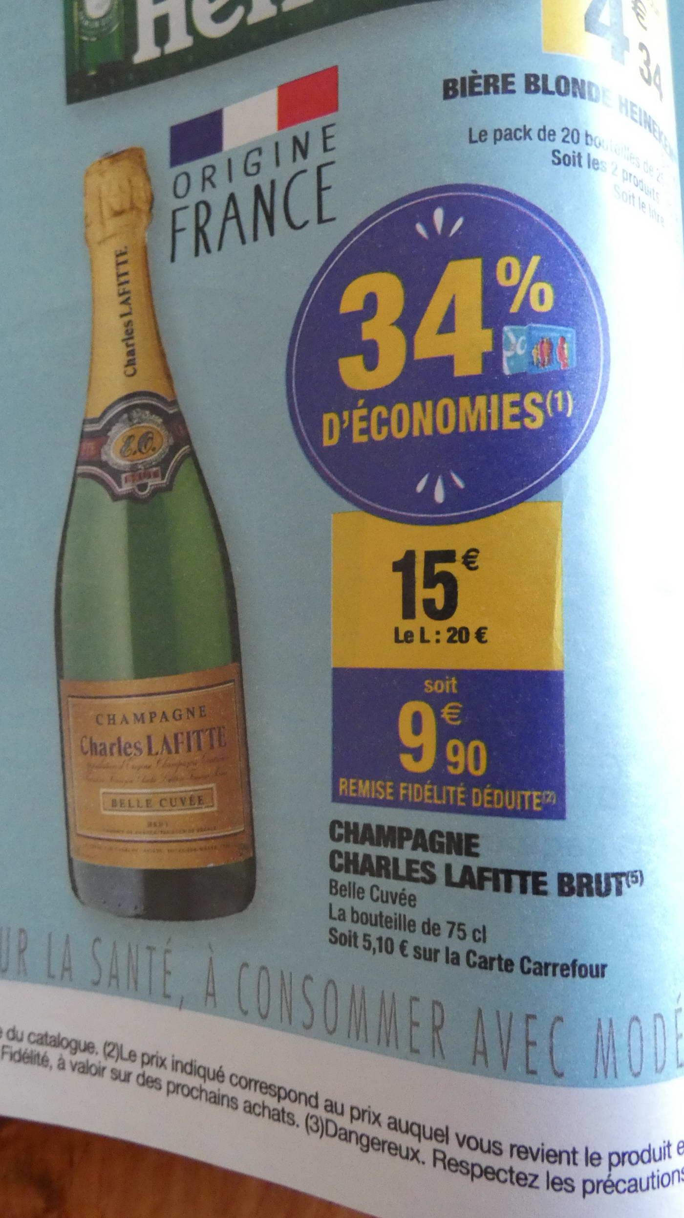 Bouteille de champagne brut Charles Lafitte Belle Cuvée - 75 cl (via 5.1€ sur la carte de fidélité)