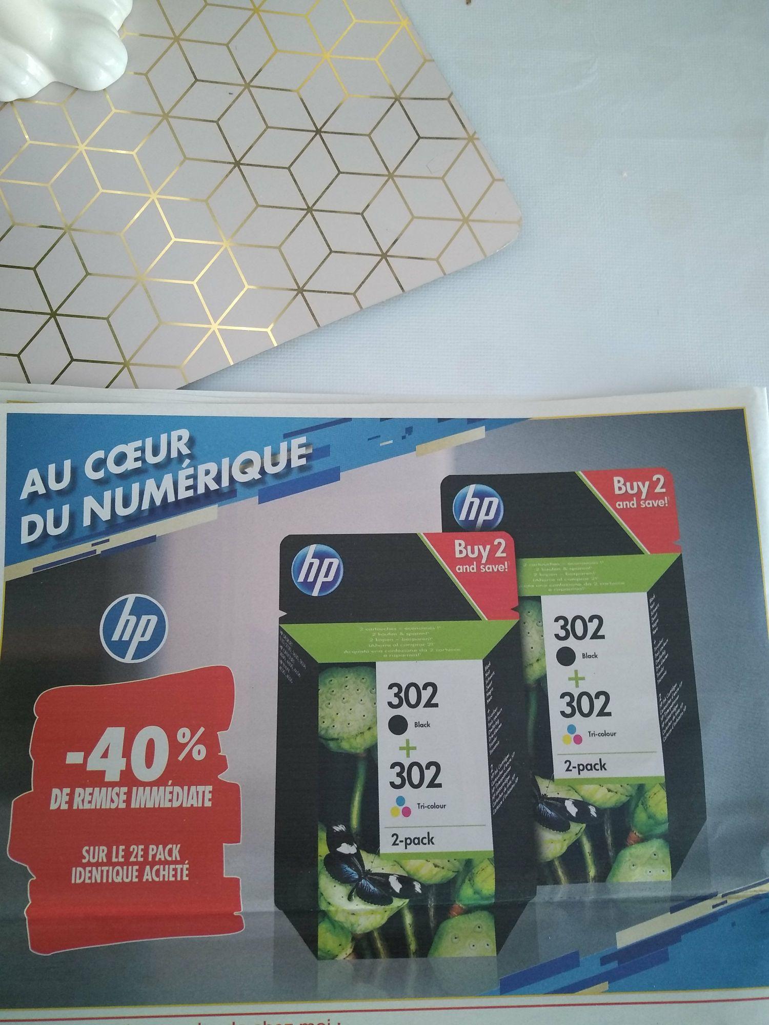 40% de réduction sur le 2ème pack encre imprimante HP identique acheté