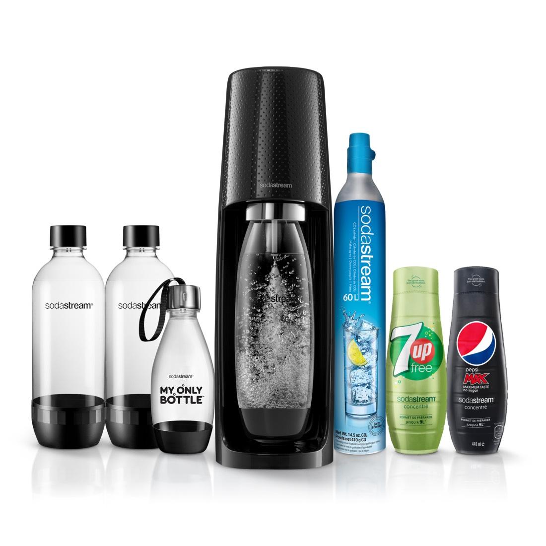Machine à gazéifier Sodastream Spirit Pack expert : 3 Bouteilles + 1 Cylindre + 2 Concentrés