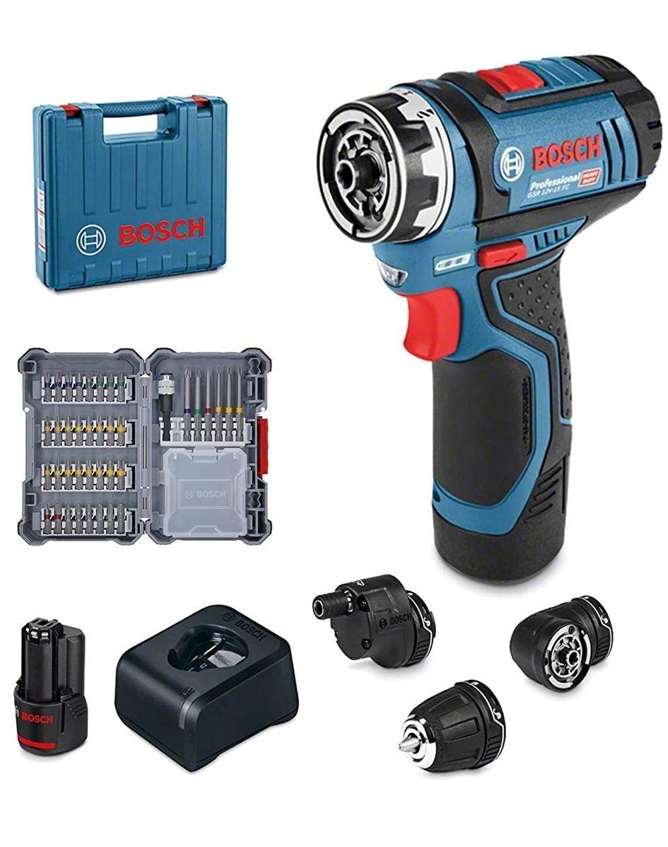 Perceuse-visseuse sans-fil Bosch Pro 06019F600D GSR 12V-15 FC - 12V, FlexiClick, Mandrin de 10 mm GFA 12-B, 1 Batterie 2,0 Ah, L-BOXX