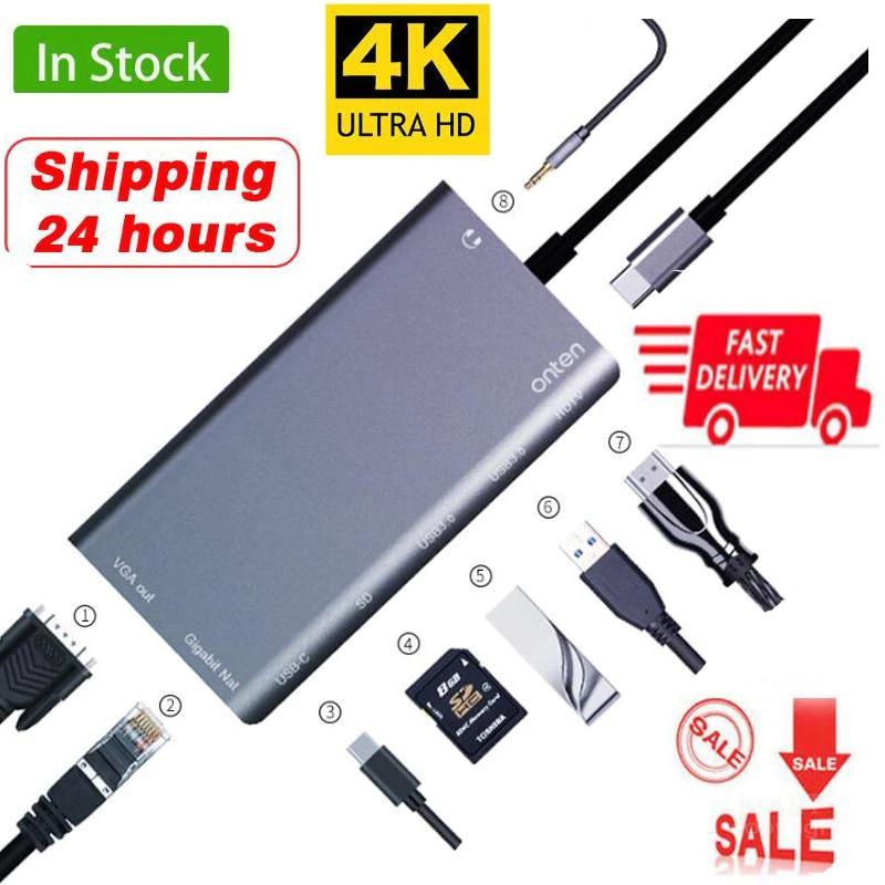 Hub USB C + USB 3.0 + Jack audio 3.5mm + carte SD + Ethernet + HDMI + VGA