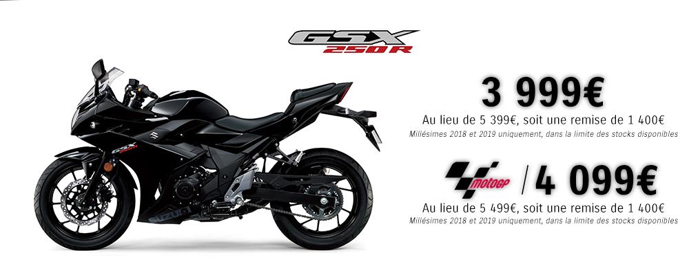 Sélection de 2 Roues en promotion - Ex : Moto Suzuki GSX 250 R - 2018/2019 (suzuki-moto.com)