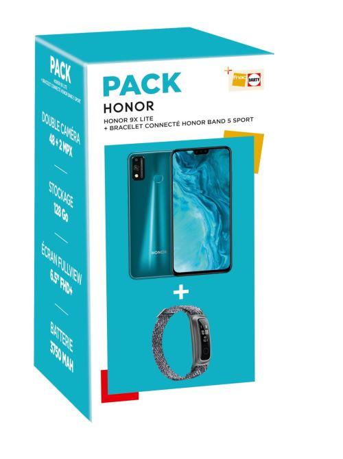 """Pack Smartphone 6.5"""" Honor 9X Lite (Double SIM, 128 Go, Vert émeraude) + Bracelet connecté Honor Band 5 Sport (Gris glacier)"""