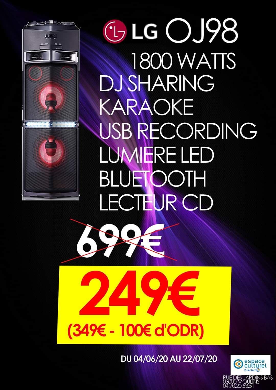 Chaine Hi-Fi LG OJ98 - Bluetooth, lecteur CD (via ODR 100€) - Moulins (03)