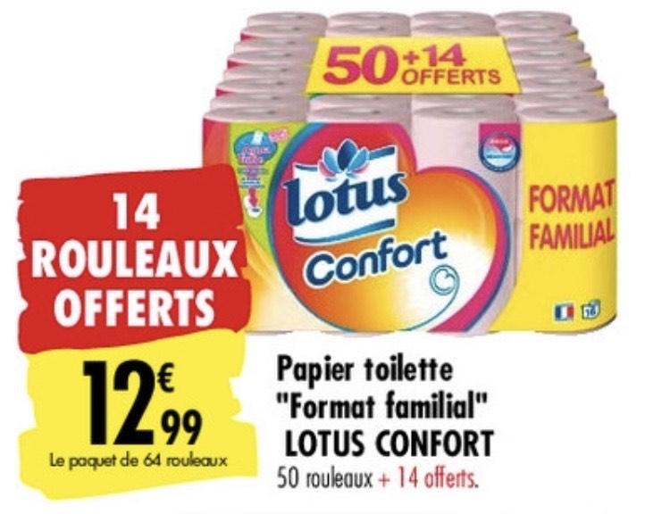 Paquet de 64 rouleaux de papier toilette Lotus Confort Aquatube