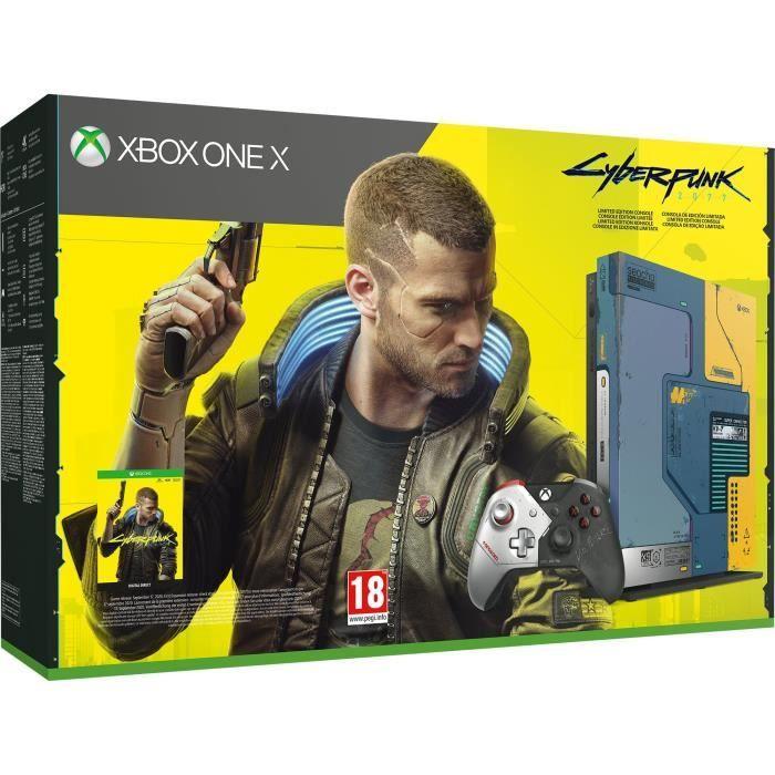Pack Console Xbox One X Edition Limitée - 1To + Cyberpunk 2077 (Dématérialisé) + Abonnement Xbox Game Pass Ultimate 1 Mois