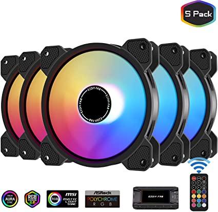 Lot de 5 Ventilateurs PC RGB EZDIY-FAB avec Hub & Télécommande (Via Coupon - Vendeur Tiers)
