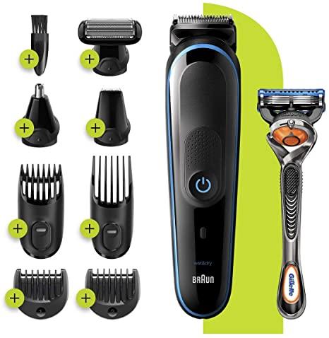 Tondeuse à cheveux et barbe 9-En-1 Braun MGK5280 - Noir/Bleu