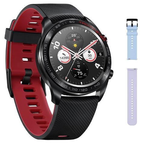 Montre connectée Honor Magic Watch (Noir/Rouge) + Bracelet EasyFit 20mm (Sky Blue)