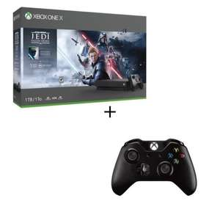 Console Microsoft Xbox One X (1 To) + 2ème manette + Star Wars Jedi: Fallen Order + 1 mois d'Xbox Game Pass + 1 mois d'Xbox Live Gold