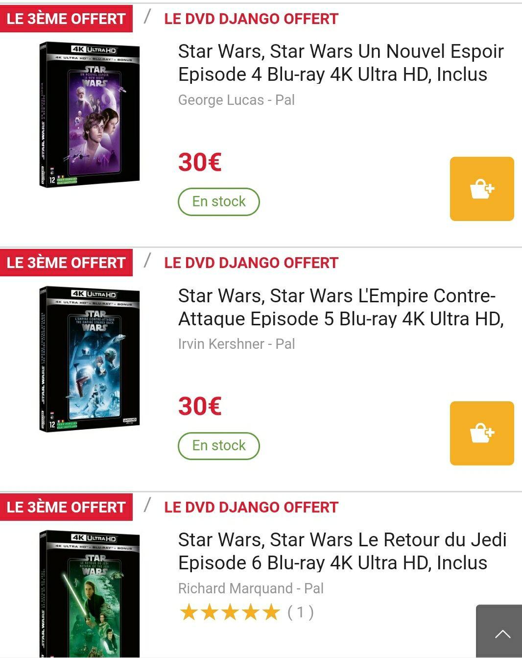 Lot de 2 Blu-ray / Blu-ray 4K / DVDs Star Wars achetés parmi une sélection = 1 offert (le moins cher)