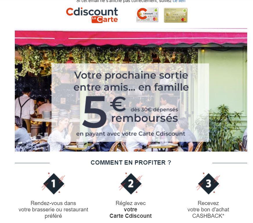 [Carte Cdiscount] Bon d'achat de 5€ offert dès 30€ dépensés en brasserie ou restaurant