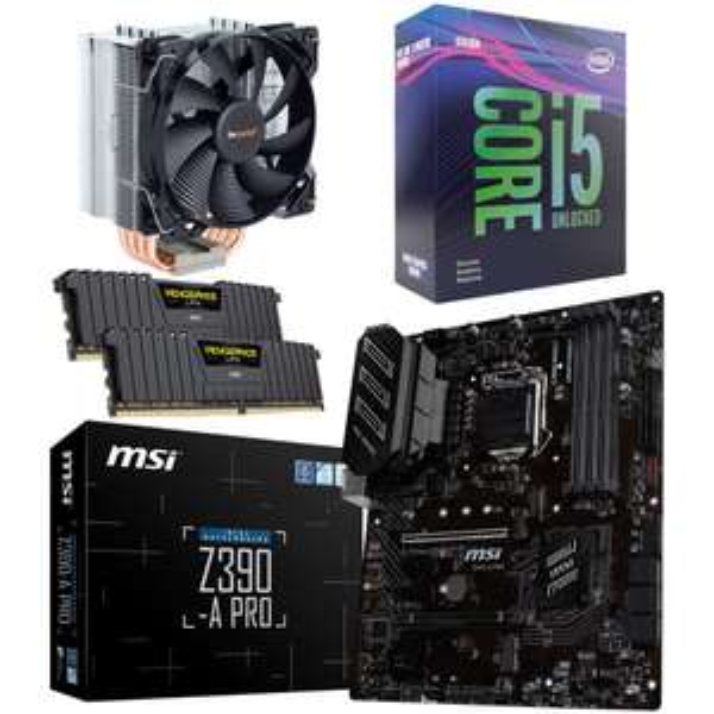 Kit évo Intel Core i5-9600KF + Carte Mère MSI Z390-A Pro + Pure Rock + 16 Go de Ram Corsair Vengeance LPX (via ODR de 40€)
