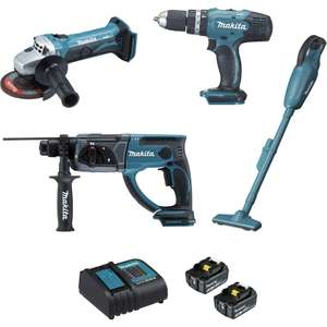 Ensemble 4 machines Makita + 5 batteries 3,0Ah + chargeur