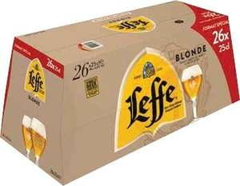 1 pack de Bières Leffe 26 × 25cl + 1 pack de 12 Bières Leffe Légère 12 x 25cl