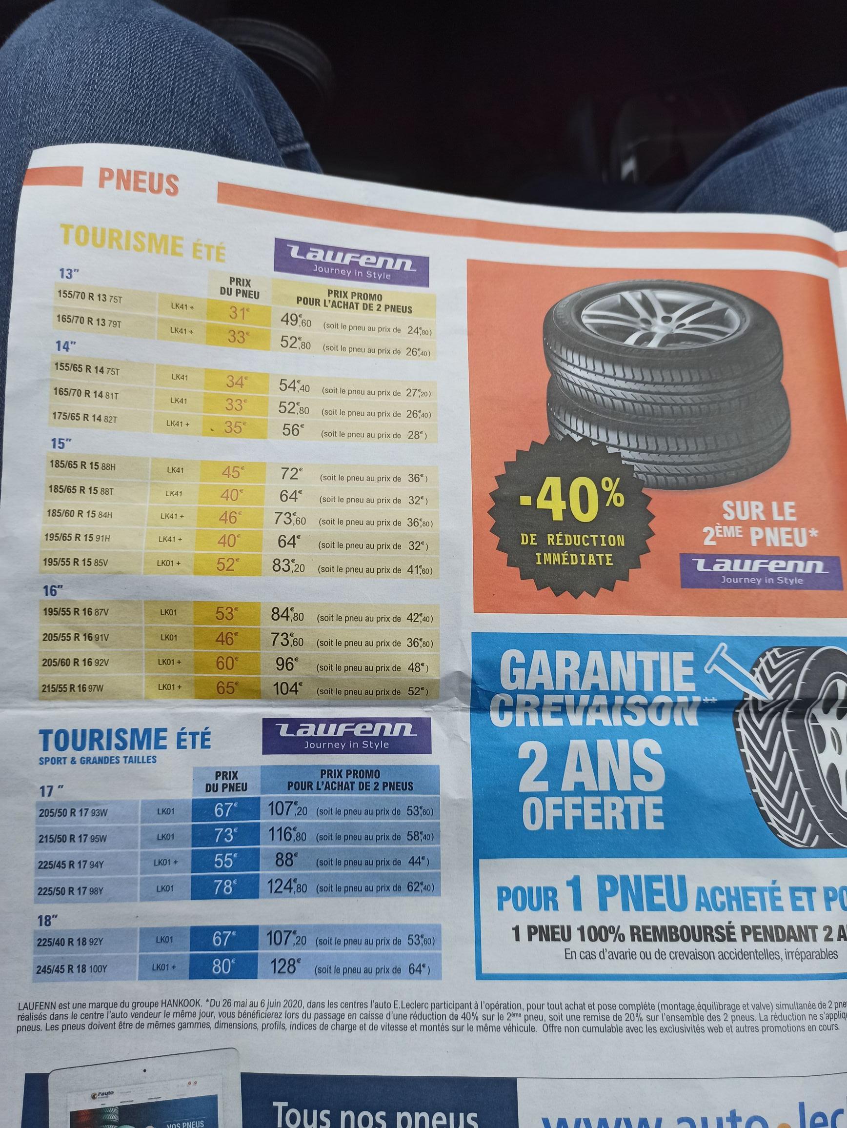 1 pneu de la marque Laufen acheté = le second à -40%