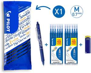 Lot de 1 Stylo FriXion Ball Clicker 0.7mm + 2 Sets de 6 recharges + Gomme - Pointe moyenne