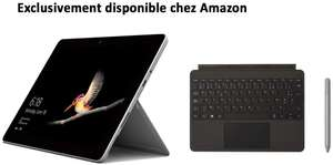 """Tablette 10"""" Microsoft Surface Go (Pentium Gold 4415Y, 8 Go RAM, 128 Go SSD, Windows 10) + Type Cover Noire + Stylet Surface Platine"""