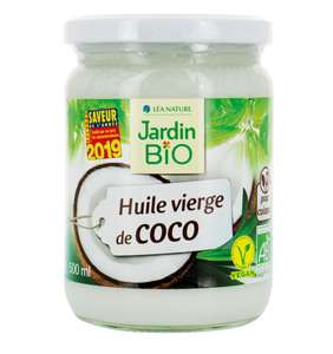 Lot de 3 pots Huile de coco vierge bio Jardin Bio - 3 x 500 ml