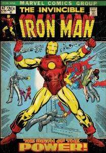 Poster Repositionnable Marvel Iron Man Comics Vinyle Adhésif - 60.96x87cm