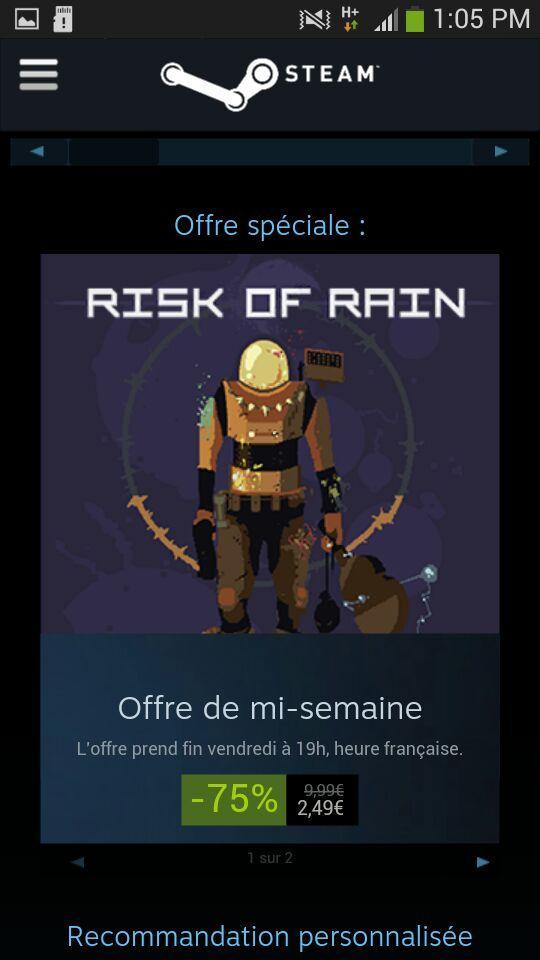 Sélection de jeux en promo - Ex : Jeu risk of Rain sur PC (Dématérialisé - Steam)
