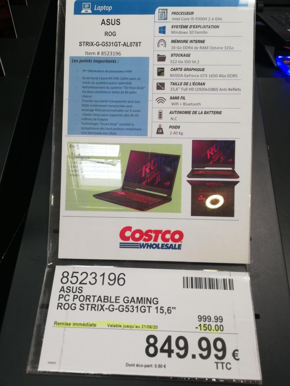 [Carte Costco] PC Portable Asus ROG STRIX-G-G531GT - i5-9300H, 16 Go de Ram, 512 Go SSD, GeForce 1650 - Villebon-sur-Yvette (91)