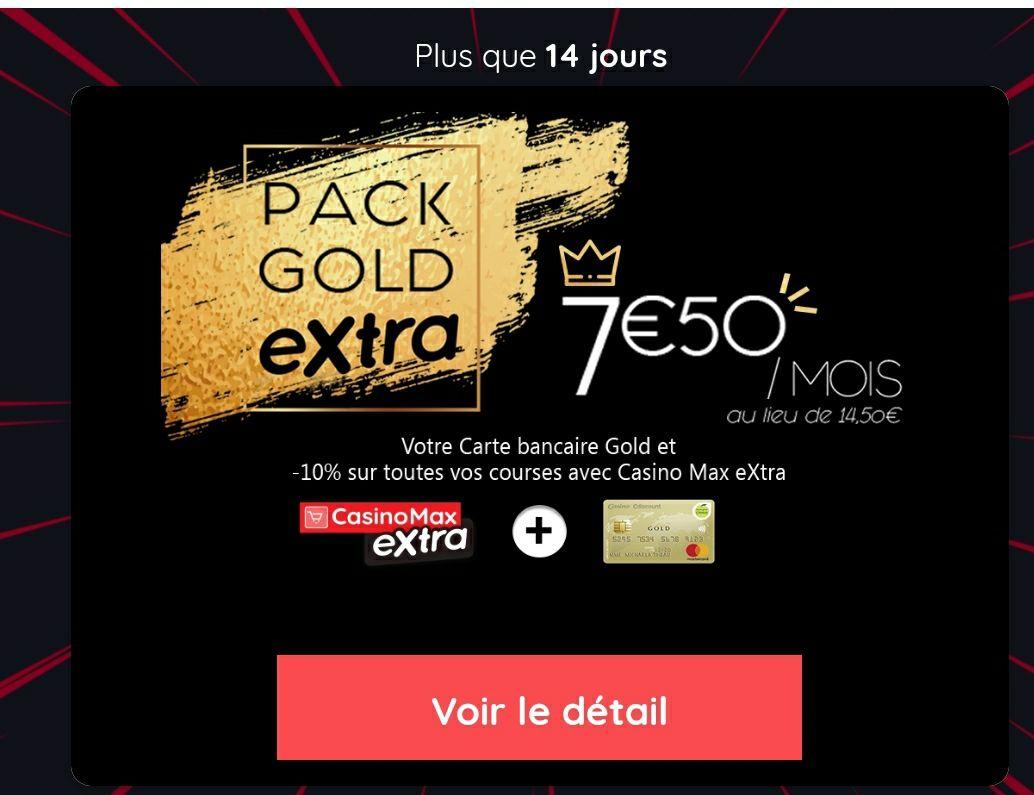 Abonnement mensuel à Casino Max Extra + carte bancaire Casino Cdiscount Mastercard Gold - pendant un an