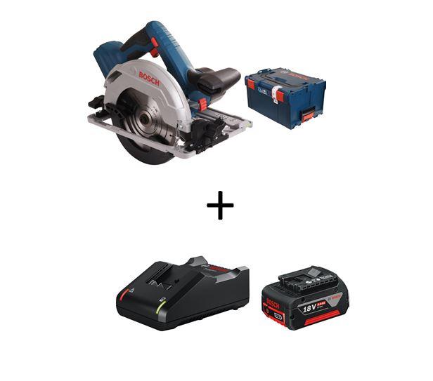 Scie circulaire sans fil 18V Bosch Professional GKS 18V-57 G + L-Boxx + Chargeur GAL 18 V-40 + batterie 18V 4,0Ah (>189,62€ avec le code)