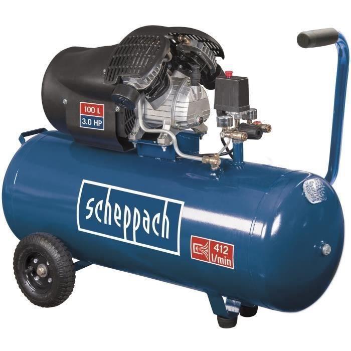 Compresseur d'air horizontal Scheppach HC100DC - 100 L, 3CV, 8 bars