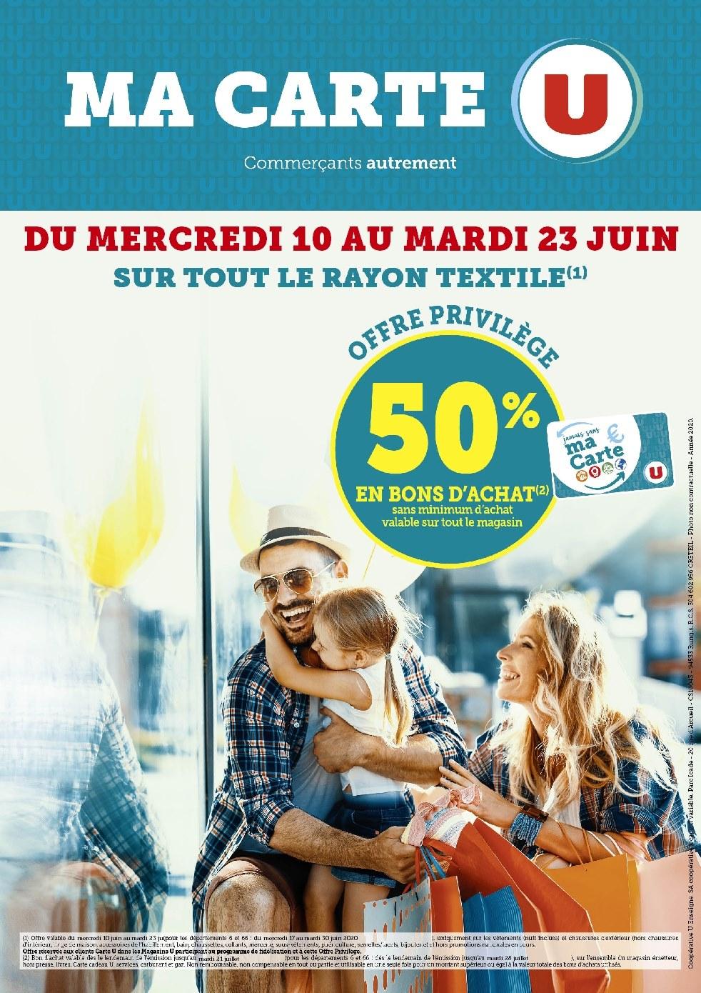 [Carte U] 50% remboursés en bon d'achat sur le rayon Textile (hors exceptions) - Gujan-Mestras (33)
