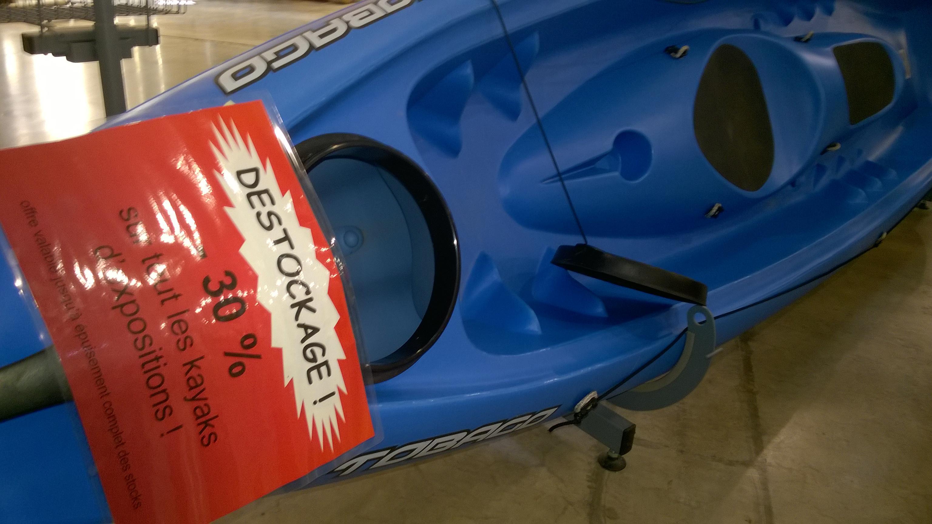 30% de réduction sur tous les Kayaks d'exposition - Ex  : Kayak RK500